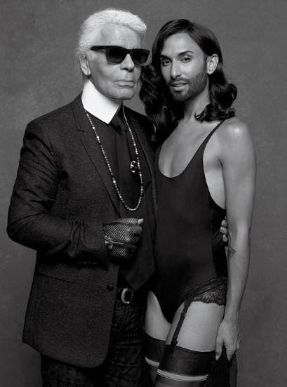 Conchita Wurst und Karl Lagerfeld