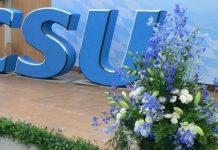 CSU-Logo mit Blumen
