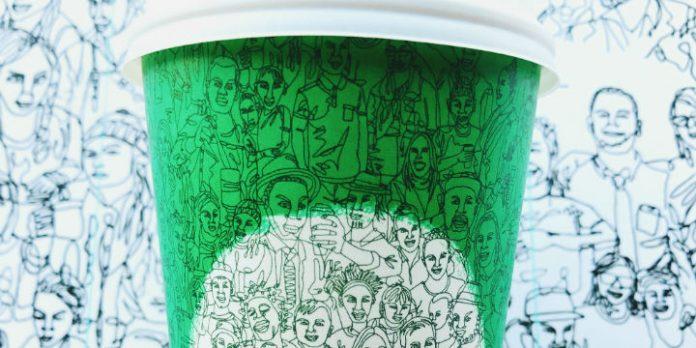 Grüner Starbucks-Becher