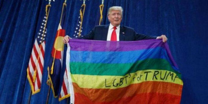 Donald Trump mit Regenbogenflagge
