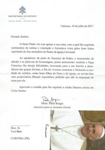 Vatikan-Brief an Toni Reis