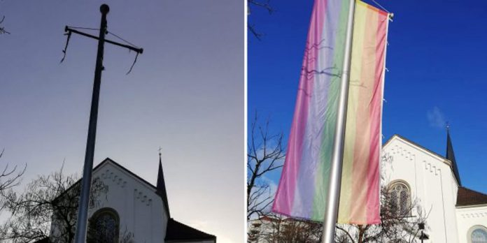Regenbogenflagge vor der Kirche in Hard